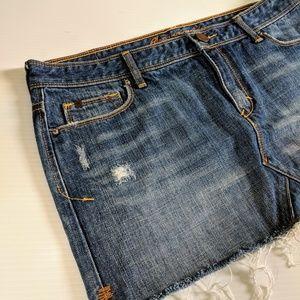 Abercrombie & Fitch Dresses - ABERCROMBIE & FITCH Distressed Denim Mini Skirt